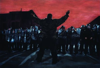 """""""Hands Up, Don't Shoot,"""" acrylic on velvet, by Tony Shore; part of """"Baltimore Rising"""" exhibit at MICA."""