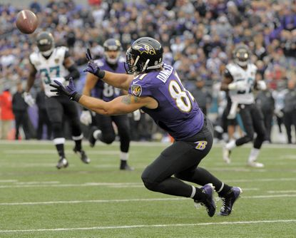 Ravens tight end Owen Daniels makes a catch just short of the goal line to set up a touchdown against the Jaguars during the third quarter.