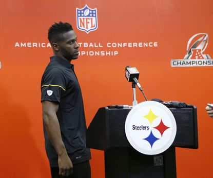 Pittsburgh Steelers wide receiver Antonio Brown arrives to talk with reporters after their NFL football practice, Wednesday, Jan. 18, 2017, in Pittsburgh. The Steelers face the New England Patriots in the AFC conference championship on Sunday.