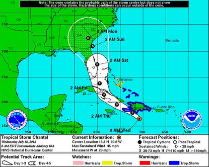 Tropical Storm Chantal dissipates in Caribbean