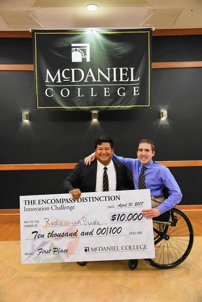 Justin Arter and Louis Schaab won $10,000 for their idea Ride With Pride entry at the Innovation Challenge at McDaniel College on Monday, April 10.