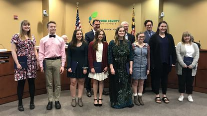 Members of the All-State Senior Mixed Chorus, Senior Treble Chorus, Junior Choir and the National Association for Music Education All-Eastern Honor Choir are honored by the Harford County Board of Education at their meeting in Bel Air Monday night.