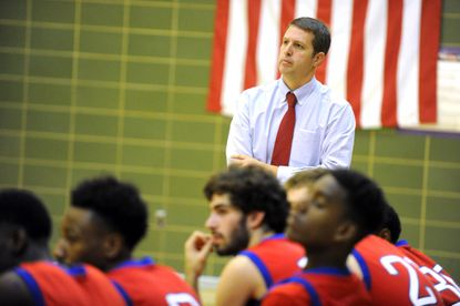 Lansdowne head coach Greg Karpers watches his team in a 2018 game against Loch Raven. Karpers, who had 153 wins as the varsity boys coach at Lansdowne, took over as the new athletic director at Dulaney High.