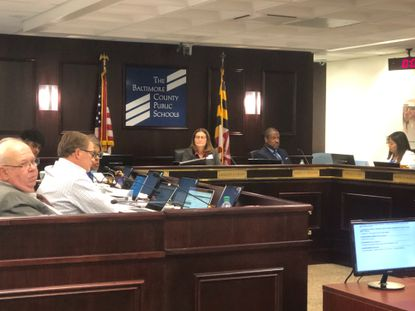 The Baltimore County school board, shown in 2019, voted Jan. 5 to put some high school projects back into its budget request for next school year after the county executive cut them from his draft budget.