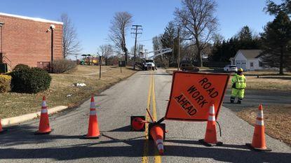 Crews work to restore power to Churchville Elementary School, which was closed Monday.