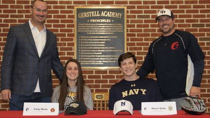 Gerstell seniors Carly Merlo and Reece Early recently made their college commitments official during a signing day ceremony. Merlo is headed to Towson for women's lacrosse; Early is bound for the Naval Academy for baseball.