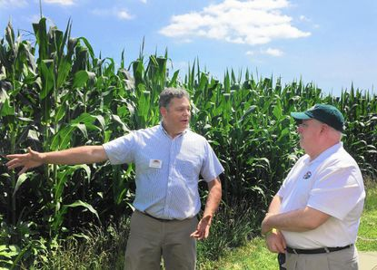 George Mayo, executive director of the Harford County-based Maryland Agricultural Education Foundation, tells Gov. Larry Hogan about the growth cycle of corn during the governor's visit to the MAEF facilities at Swan Harbor Farm last July. Hogan plans to be in Harford County on Saturday and will make at least two stops in the Bel Air area.