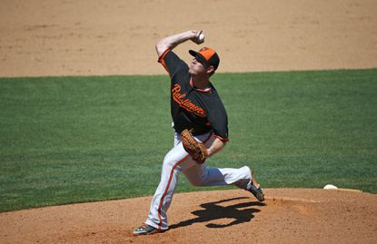 Orioles starting pitcher Dylan Bundy pitches in relief in a spring training baseball game against the Philadelphia Phillies in Clearwater, Fla.