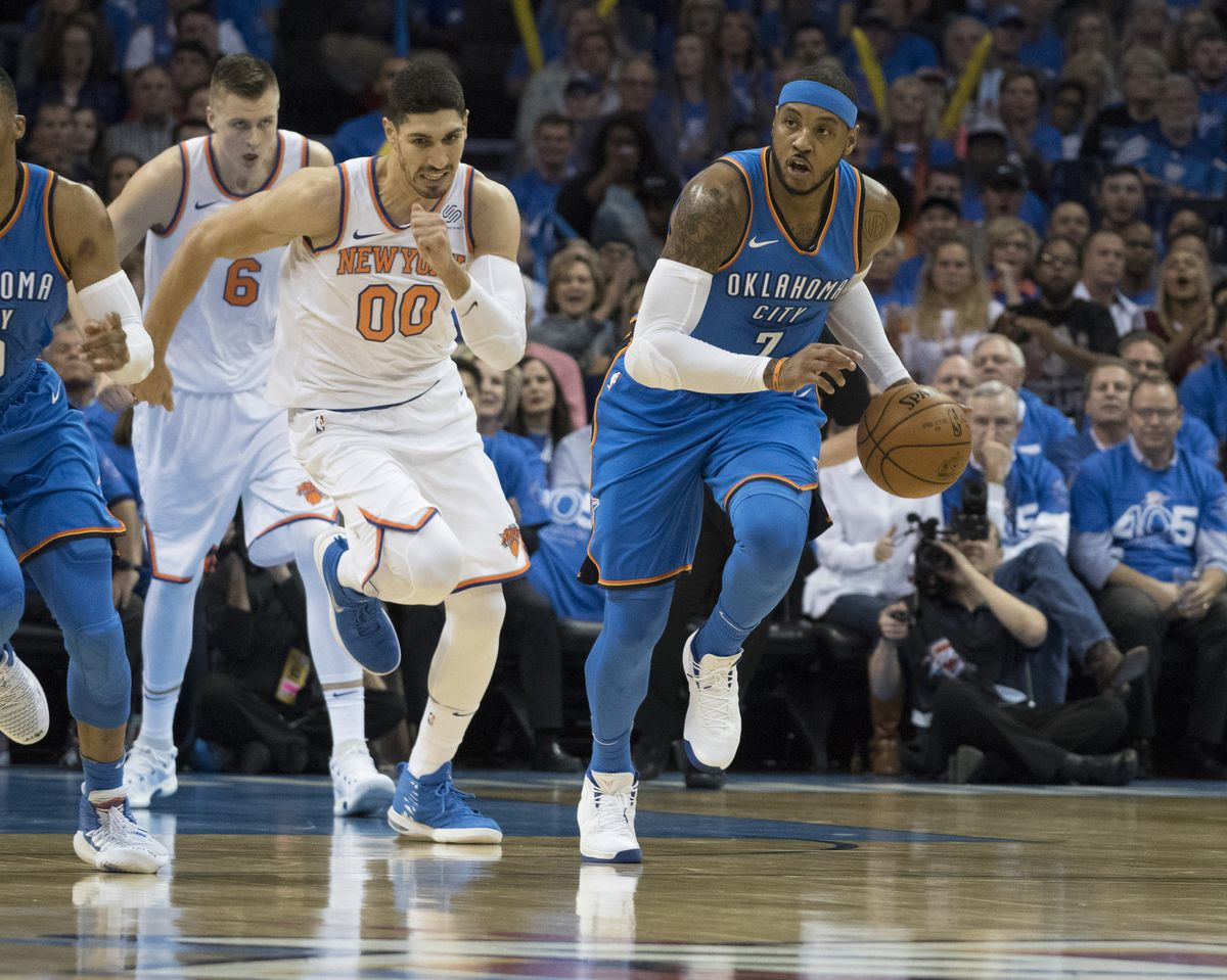 83bedb22 Carmelo Anthony scores 22 points in Thunder debut against his former team