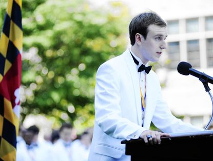 A.J. Unitas Jr. addresses his classmates, family and friends as he delivers the student address during the June 3 commencement for the Loyola Blakefield Class of 2012.