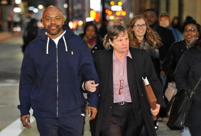 Clarence Shipley Jr. is escorted from Courthouse East in 2018 by his lawyer from the Mid-Atlantic Innocence Project, Michele Nethercott. Shipley, of Cherry Hill, was released after the Baltimore City State's Attorney's Office vacated his conviction and dismissed all charges. He spent 27 years in jail after being convicted for a murder he did not commit.