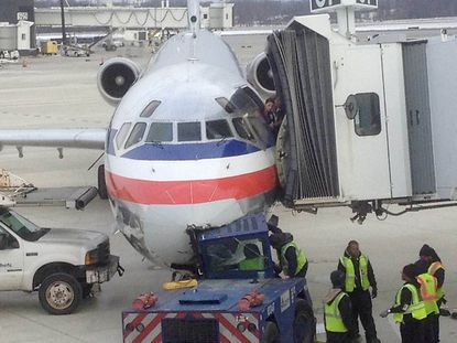 An American Airlines plane headed to Dallas-Fort Worth airport was damaged at Baltimore-Washington International Thurgood Marshall Airport.