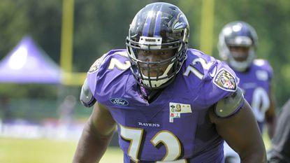 Ravens offensive lineman Kelechi Osemele is inactive against the Atlanta Falcons.
