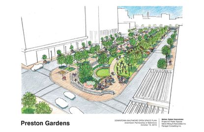 A $6.75M facelift planned for Preston Gardens park in downtown Baltimore, city officials and the Downtown Partnership said Tuesday during a kickoff event.