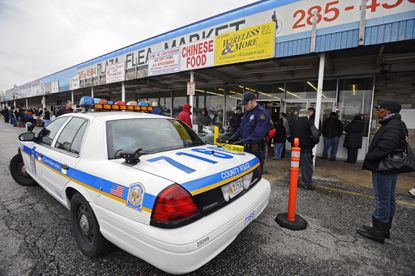 Baltimore County Police executed a search warrant at North Point Plaza Flea Market for counterfeit merchandise.