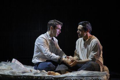 "King Edward II (Zack Powell) and Piers de Gaveston (Alejandro Ruiz) in Rep Stage's production of ""E2."""