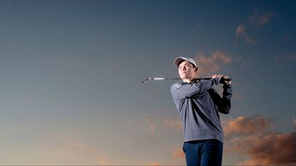 Marriotts Ridge senior David Stephens poses for the boys golf player of they year photo at Hobbit's Glen Golf Course in Columbia on Thursday, Nov. 16, 2017.