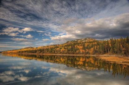 Fall at Lake Labarge, Yukon, Canada.