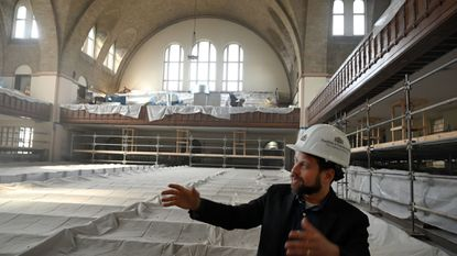 Rabbi Daniel Cotzin Burg describes renovations to his synagogue, Beth Am, located in Reservoir Hill.