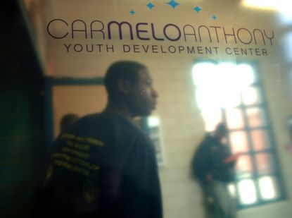 BALTIMORE,MD -- NBA basketball star Carmelo Anthony is shown in 2006 at the opening of The Carmelo Anthony Youth Development Center in Baltimore. Under Armour and its CEO Kevin Plank are stepping in to fund the center and improvements there after Anthony went in a different direction.