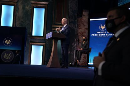 President-elect Joe Biden unveils his economic stimulus package in WIlmington, Del., on Thursday, Jan. 14, 2021, as Vice President-elect Kamala Harris looks on. The plan has been praised -- even by conservative-leaning businesses, lobbying groups and analysts -- for its size and scope, matching the current economic crisis with a historically unique response.