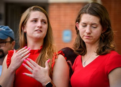 Wendi Winters' daughters Summerleigh Winters Geimer, Montana Winters Geimer speak to the media following a jury finding the man who killed five Capital Gazette employees was criminally responsible.