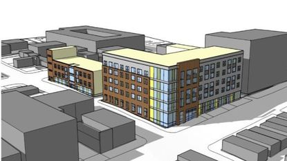 A rendering of the proposed Four Ten Lofts on Mulberry Street in Baltimore.