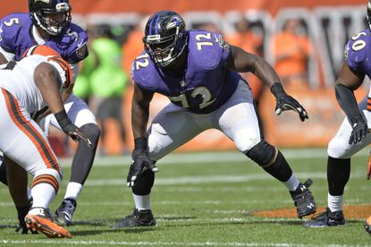 In this Sept. 21, 2014, file photo, Baltimore Ravens guard Kelechi Osemele (72) blocks during an NFL football game against the Cleveland Brown, in Cleveland. While the draft often comes down to who is the highest-rated player overall when a team's turn comes _ even when the draftee doesn't necessarily fit a huge need _ the spending spree that begins Wednesday, March 9, 2016, is a much different marketplace.