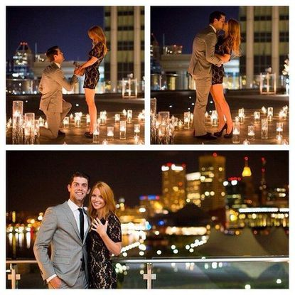 Ravens kicker Justin Tucker proposes to Amanda Bass as the Inner Harbor sparkles behind them.