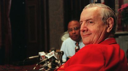 Conservative talk radio personality Les Kinsolving is pictured May 14, 1998, in one of his famous bright-red blazers.