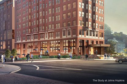 A rendering of the hotel Johns Hopkins University plans to convert from an apartment building near its Homewood campus in North Baltimore. Original Credit: Johns Hopkins University
