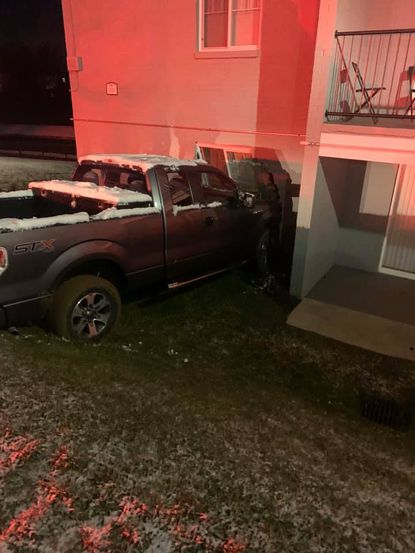A Ford F-150 pickup crashed into an apartment building in Edgewood early Wednesday morning, Jan. 8, 2020.