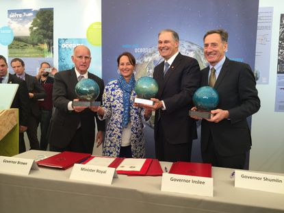 United States governors Jerry Brown of California, Jay Inslee of Washington, and Peter Shumlin of Vermont signed a memorandum of understanding with the French Embassy to the United States committing to state climate leadership.