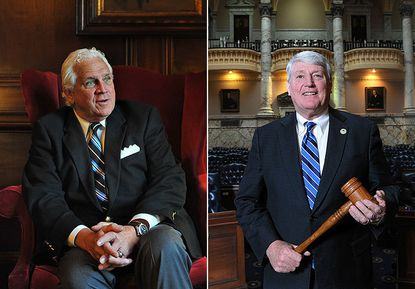 Senate President Thomas V. Mike Miller, left, will begin his 26th consecutive session as a state presiding officer this year. Michael E. Busch, speaker of the House of Delegates, right, is about to become the longest-serving Marylander at the head of the House of Delegates.