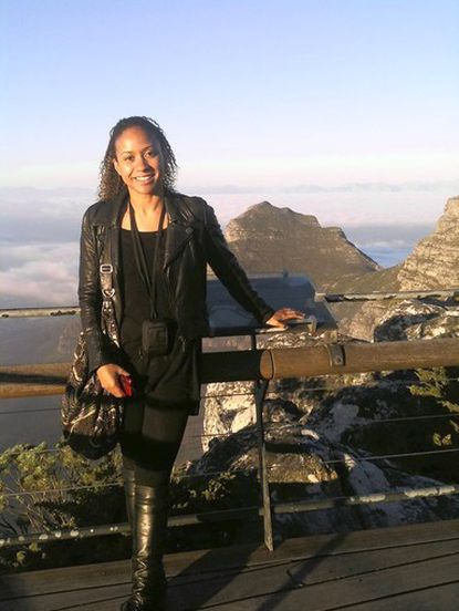"Tracie Thoms last year on Table Mountain in Cape Town, South Africa, where she was shooting the film, ""Safe House."""