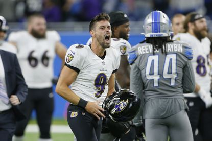 Baltimore Ravens kicker Justin Tucker celebrates after kicking a 66-yard field goal in the second half of an NFL football game against the Detroit Lions in Detroit, Sunday, Sept. 26, 2021. Baltimore won 19-17. (AP Photo/Duane Burleson)