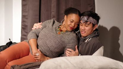 "Andrea Thomas (played by Joelle Denise) and Carlos Morales (Deigo Esmolo) in a scene from ""House"" at Laurel Mill Playhouse on Jan. 19, 20 and 21."