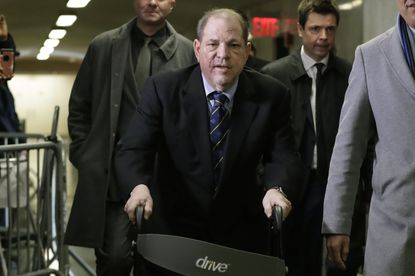Harvey Weinstein arrives at court for his rape trial in New York on Jan. 24, 2020.