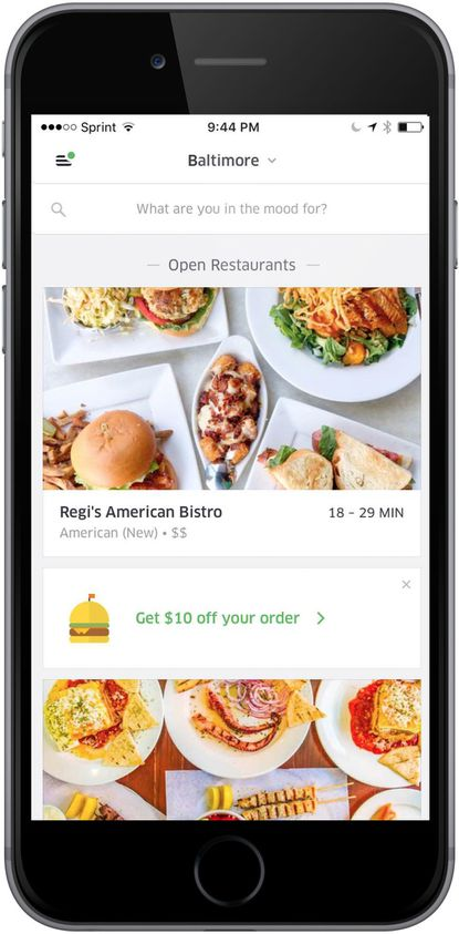 UberEATS, Uber's standalone food delivery service, launches in Baltimore on Thursday.