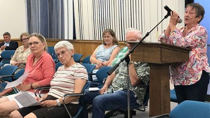 Gloria Moon, of Joppa, makes her thoughts known on legislation before the Harford County Council that could change various zoning regulations if approved. She and other members of the public spoke during public hearings last week.