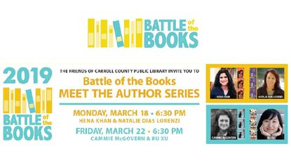 Carroll County Public Library's Meet the Author series starts March 18 with talks from two middle-grade authors whose works will be part of the 2019 Battle of the Books.