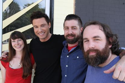 """""""Restaurant Divided"""" host Rocco DiSpirito (in black shirt) with the Maggie's Farm owners (left to right) Laura Marino, Matthew Weaver and Andrew Weinzirl."""
