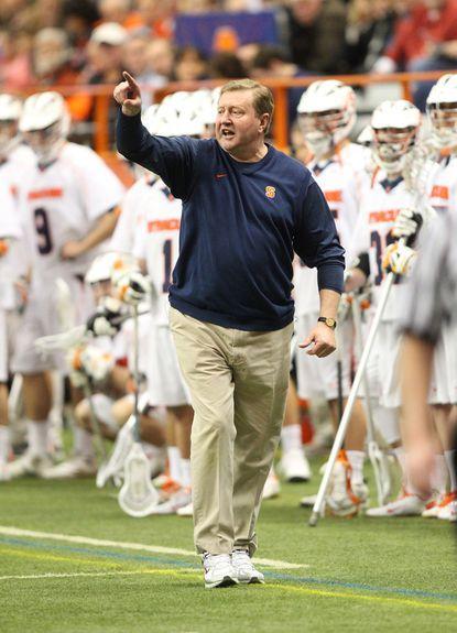 Syracuse head coach John Desko walks the sidelines against Army last February.