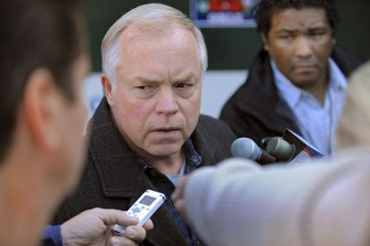 Buck Showalter speaks to reporters at Camden Yards on Saturday afternoon, a day after the Orioles' season ended in a Game 5 loss to the Yankees in the ALDS.