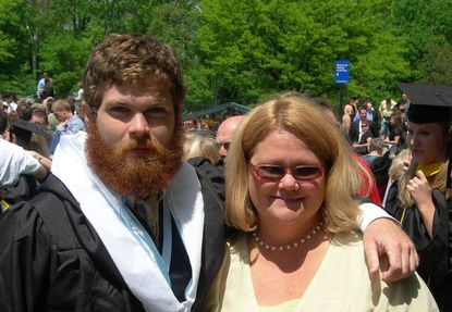 Andrew Wall, left, with his mother, Karen Wilder, on the day he graduated from Mount St. Mary's University in Emmitsburg in 2009.