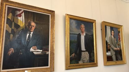 The three most recent governors to have their portraits hung in the State House Reception Room are, from left, William Donald Schaefer, Parris N. Glendening and Robert L. Ehrlich Jr.