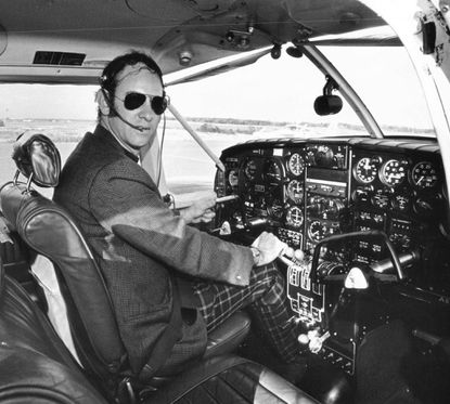 Shown in 1971, Dr. Don-Neil Brotman in his twin-engine Piper Aztec