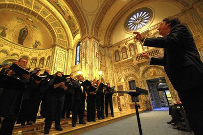 The Baltimore Choral Arts Society led by Tom Hall in a concert in the Our Lady of the Angels Chapel at Charlestown.