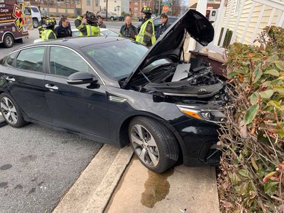 A vehicle struck the Bomboy's candy store in Havre de Grace on Friday morning.