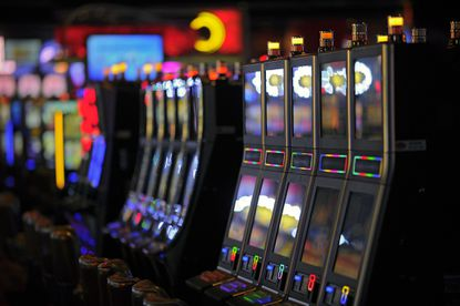 A row of gambling machines is shown at Arundel Mills' Live! Casino.